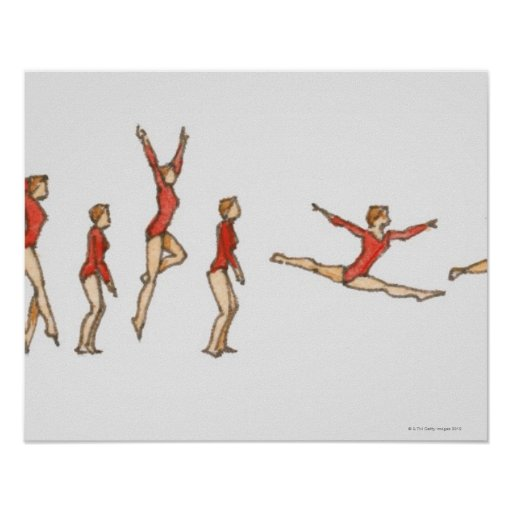 Sequence of illustrations showing female gymnast posters