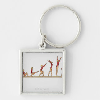 Sequence of illustrations showing female keychain
