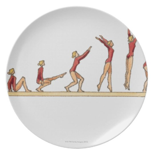 Sequence of illustrations showing female melamine plate