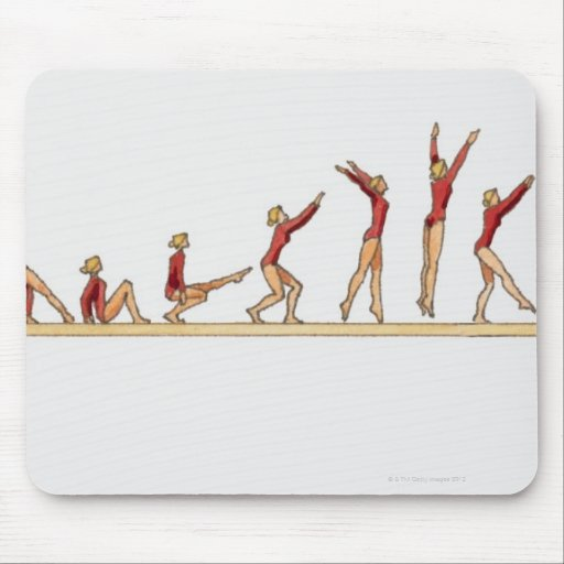 Sequence of illustrations showing female mouse pad