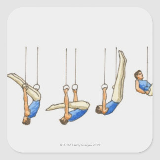 Sequence of illustrations showing male gymnast 2 square sticker