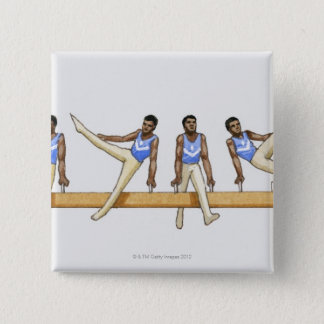Sequence of illustrations showing male gymnast button