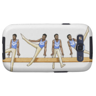 Sequence of illustrations showing male gymnast galaxy s3 cover