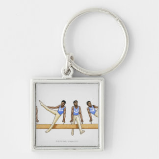Sequence of illustrations showing male gymnast keychain