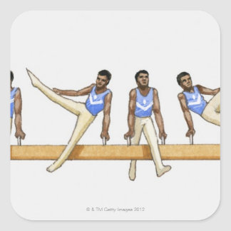 Sequence of illustrations showing male gymnast square sticker