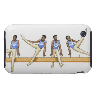 Sequence of illustrations showing male gymnast tough iPhone 3 case