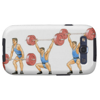 Sequence of illustrations showing man galaxy s3 cases