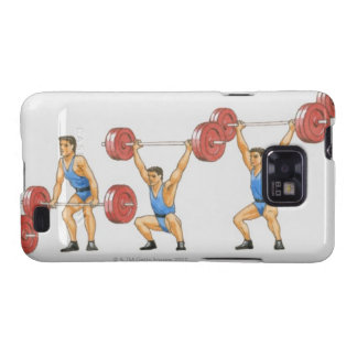 Sequence of illustrations showing man samsung galaxy SII covers