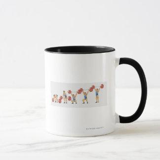 Sequence of illustrations showing man mug