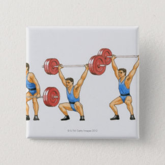 Sequence of illustrations showing man pinback button