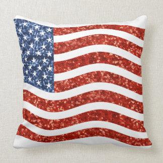 sequin american flag throw pillow