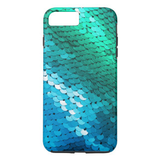 Sequin Blue Green Teal Glitter Glitz Ombre Mermaid iPhone 8 Plus/7 Plus Case