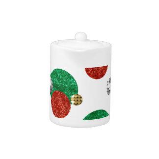 sequin christmas dots teapot