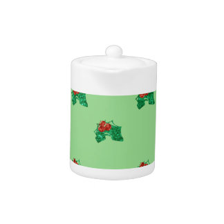 sequin christmas Holly Teapot