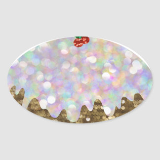sequin christmas puddings oval sticker