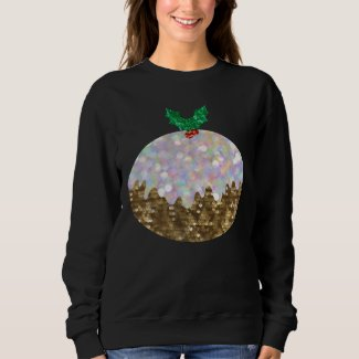 sequin christmas puddings womens sweatshirt