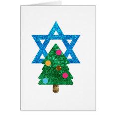 Sequin Christmukkah Hanukkah Card at Zazzle