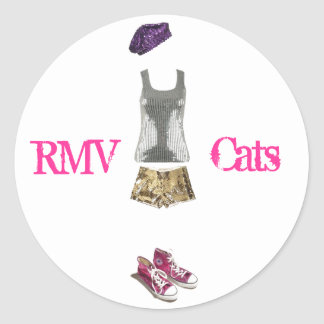 sequin girl, rmv cats classic round sticker