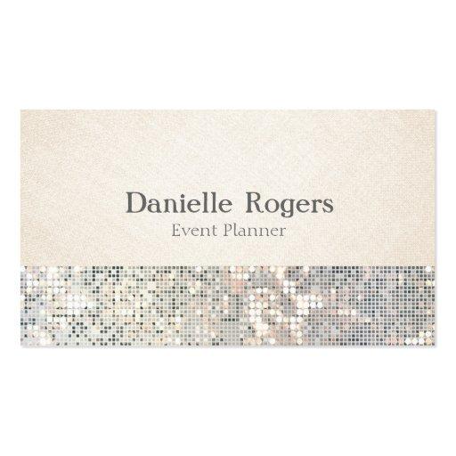 Sequin Glitter Glam Glitzy Linen Business Card