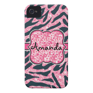 Sequin Glittering and Zebra patterned cell phone iPhone 4 Cover