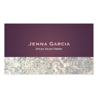 Sequin Glitzy Glam Purple Business Card