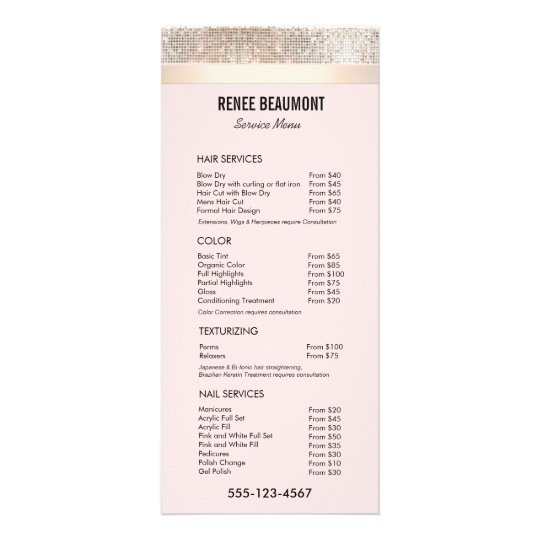 Sequin Gold Pink Salon Price List Service Menu  ZazzleCom