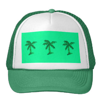 Sequin Grunge Palm Tree Image Mesh Hats