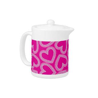 Sequin hearts teapot