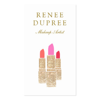 Sequin Lipstick Logo Makeup Artist Beauty Salon Double-Sided Standard Business Cards (Pack Of 100)