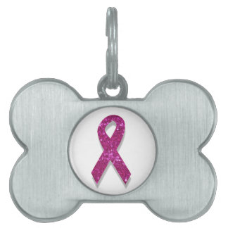 sequin pink breast cancer awareness pet name tag