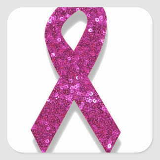 sequin pink breast cancer awareness square sticker