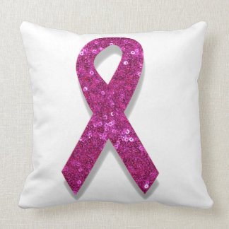 sequin pink breast cancer awareness throw pillow