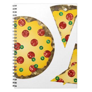 sequin pizza spiral notebook