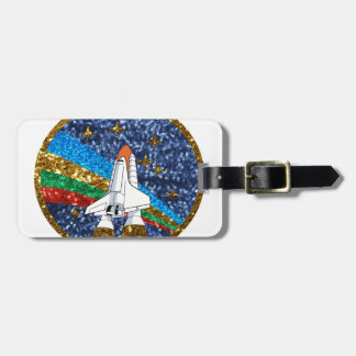 sequin space ship luggage tag