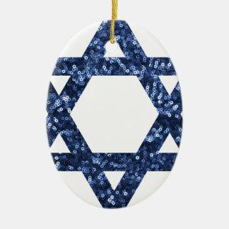 sequin star of david ceramic ornament