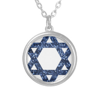 sequin star of david round pendant necklace