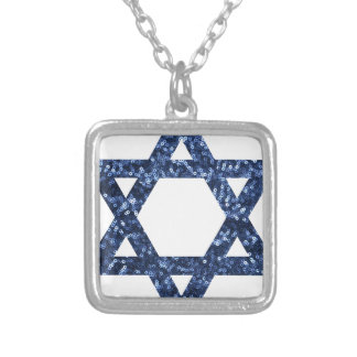 sequin star of david square pendant necklace