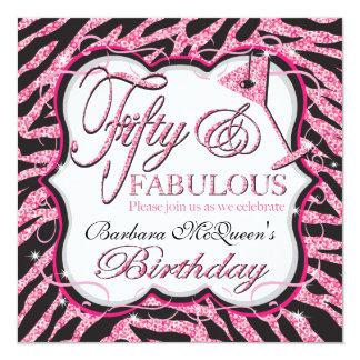 Sequin Zebra 50th Birthday Party Invitations