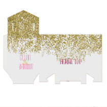Sequined Gold and Rose Watercolor Thank You Favor Box