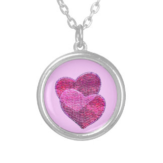 Sequined hearts pendant