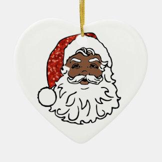 sequins black santa claus ceramic ornament