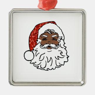sequins black santa claus metal ornament