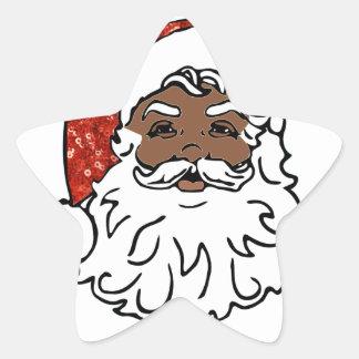 sequins black santa claus star sticker