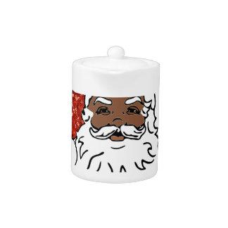 sequins black santa claus teapot