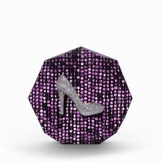 Sequins High Heel shoe purple silver Acrylic Award