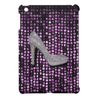 Sequins High Heel shoe purple silver iPad Mini Case