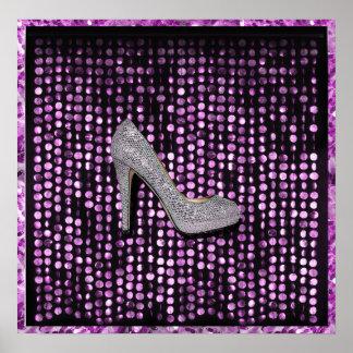 Sequins High Heel shoe purple silver Poster