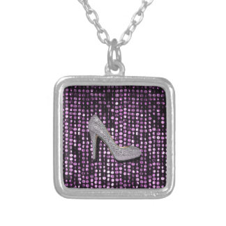 Sequins High Heel shoe purple silver Silver Plated Necklace