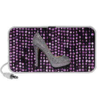 Sequins High Heel shoe purple silver Speakers