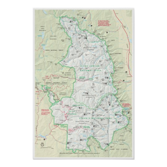 Sequoia & Kings Canyon map poster